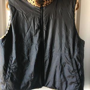 Worthington Jackets & Coats - Leopard print Reversible faux fur vest XL.